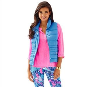 Lilly Pulitzer Bay Blue Isabella Down Puffer Vest